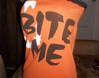 "Ladies orange and black tube top halloween with vampire fangs reads ""BITE ME""  Size M"