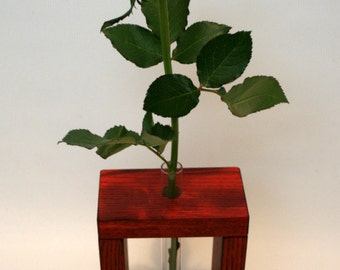 Wooden Bud Vase Home Decor 1 Flower / Wooden Vase / Red Vase