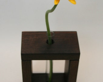 Wooden Bud Vase Home Decor / 1 Flower Vase / Dark Brown Vase / Ash Wood Vase