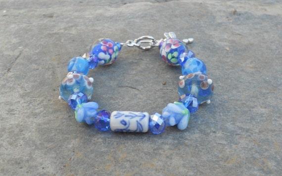Kids - Cornflower Blue Glass Lampwork  Bracelet with Dragonfly Charm