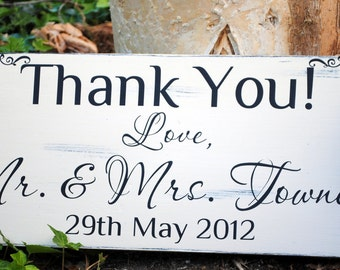 Custom Wedding Thank You Signs with last names and Wedding Date