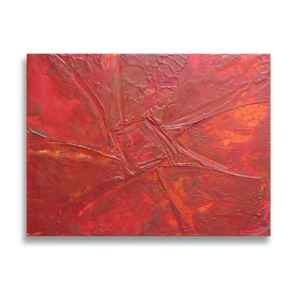 """Original Art, Encaustic Painting, Abstract Expressionism : """"Red Flower"""" by Erica Vitalia"""