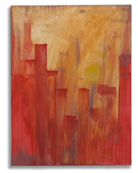 """Original Art, Acrylic Painting, Abstract Expressionism : """"City Sunset"""" by Erica Vitalia"""