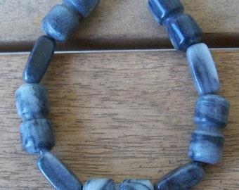 SALE 40% OFF!!  Men's Black and Gray Marble Dumbbell Bracelet