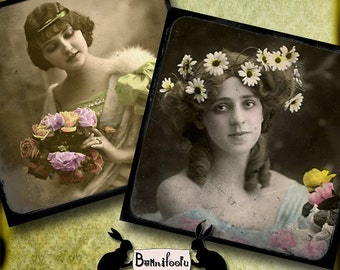 faded beauties - vintage, aged photos, coasters, vintage coasters, scrapbooking, journaling