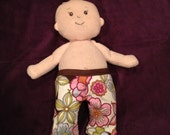 Reversible Everyday Pants in Denim and Brown Flower for Baby Stella, Bitty Baby, Waldorf and 13, 14, 15, 16 Inch Dolls, Doll Clothes Jeans