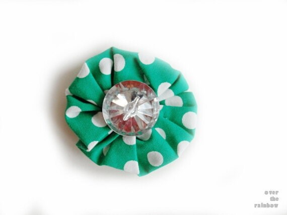 Small green flower brooch, floral pin, fabric flower, green with white polka dots, silver button, feminine fashion accessory