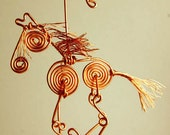Cute Copper Wire Horse Ornament, Made to Order
