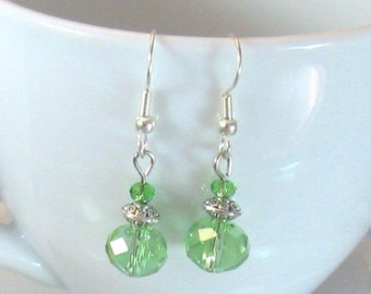 Celedon (Pale Green) Fire-Polished Crystal & Silver Earrings, Green Jewelry, Green, Birthday Gifts, Gifts for Grads, Bridesmaids Jewelry