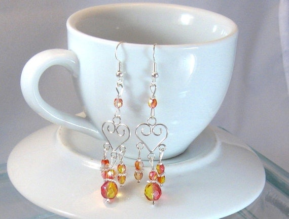 Topaz & Pink Crystal and Sterling Silver Heart-Shaped Chandelier Earrings, Hearts, Birthday Gifts, Gifts for Grads, Bridesmaids Jewelry