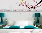 PEEL and STICK Removable Vinyl Kids Wall Decal Wall Sticker - Bird and Plum Blossoms Hanging Tree