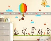 PEEL and STICK Removable Vinyl Kids Wall Decal Wall Sticker - Monkey Land with Hot Balloons