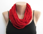 Red crochet chain scarf,cowl,neck warmer, infinity scarf