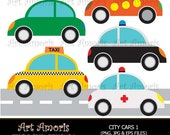 City Cars, taxi, ambulance, police car, vw, clipart, Digital Clip Art, Vector, jpg, png DC5 TF-