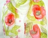 Women Handmade Scarf. Hand Painted Long Silk Scarf. Hot Pink, Red, Light Olive Silk Scarf. Poppies Scarf. 10x60 in. (25x150 cm). Ready2Ship.