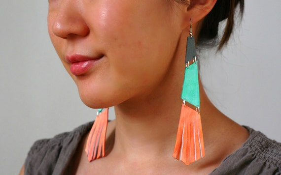 LAST ONE SALE Coral Mint Colorblock leather- long fringed handpainted abstract geometric upcycled leather earrings