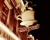 Coffee Photograph, kitchen decor, sepia, vintage sign, fine art photography