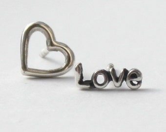 Sterling silver Mix n' Match Earrings,words and symbols Love, Joy, Peace, Hope - Lotus, Heart, Diamond, Infinity, Smiley,