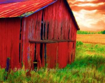 Barn, Red, Rustic, Fine Art, Photograph, Fall, Barb Lassa, Wisconsin