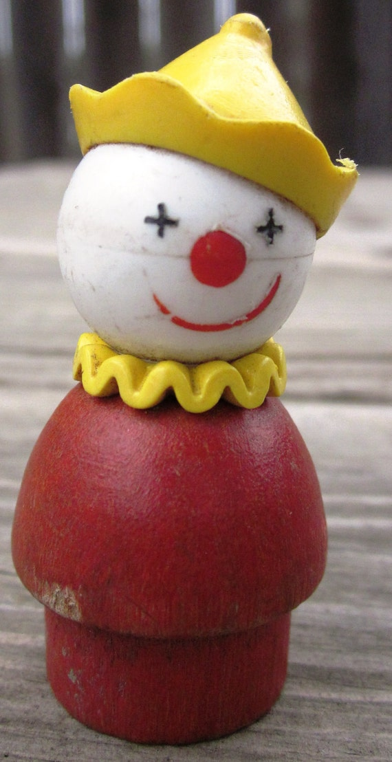 Items similar to fisher price little people wood clown on etsy for Clown fish price