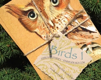 Hand illustrated eco-friendly native bird note cards (Birds I)