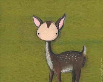 Children Wall Art - Forest Green Fawn giclee print - cute animal art, deer painting, kids wall art