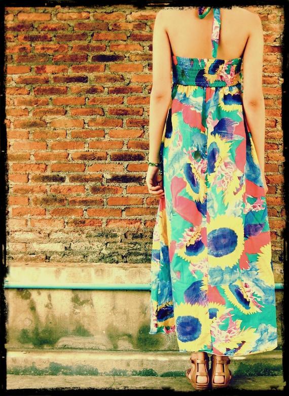 SALE**Spring Summer floral maxi sun dress,bright colorful flower print,vintage boho gypsy festival style