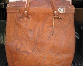 SALE--Large Vintage Locking Leather Messenger Bag-Paraguay-Fancy- Heavy Tooled-60's