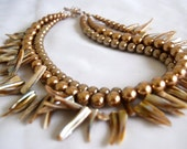Multi Strand Shell Stick Necklace, Bronze Pearls, .925 Sterling Silver Clasp