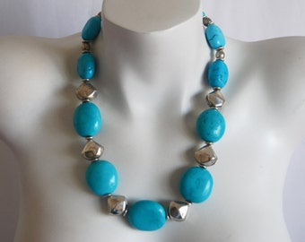Turquoise Chunky Beaded Necklace, Turquoise Nuggets, .925 Sterling Silver Hill Tribes Beads