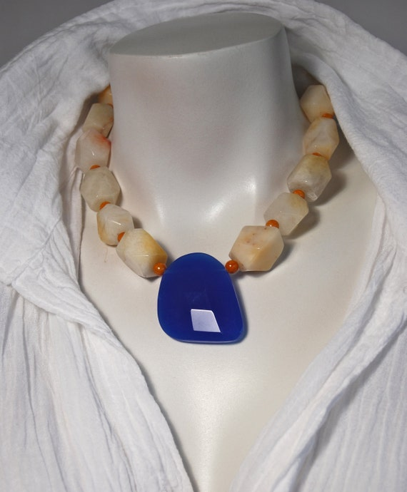 Coupon Sale 35% OFF use coupon code FEBRUARY - Chunky Single Strand Beaded Necklace with Yellow Jade and Cobalt Quartz