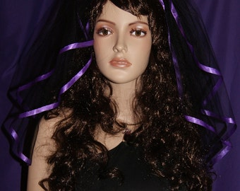 "Gothic Black Shoulder wedding veil costume Mourning two tiers 54"" width 20"" 22"" length  purple satin ribbon edge"
