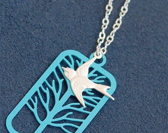 SALE - Silver Bird in Flight Necklace - Tree Necklace - Sterling Silver - Bird with Turquoise Tree - Bird Nature Necklace - Tree Jewelry