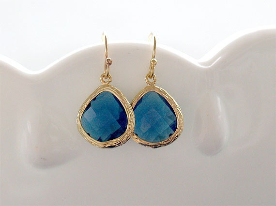 Sapphire and Gold Drop Earrings - Gold Filled Earwire - Faceted - September Birthstone