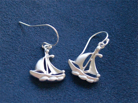 Sailboat Earrings - Sailing Jewelry on 925 Sterling Wire, Nautical Jewelry, Sailor, Sailboat, Ocean Jewelry