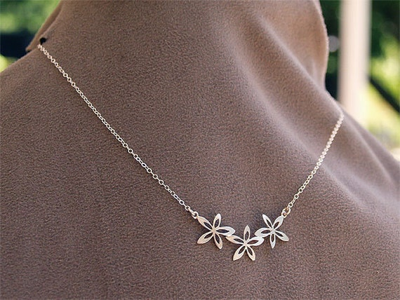 SALE - Silver Flower Necklace - Gift for Her - Sterling Silver Chain - Necklace - Children's Wedding, Bridesmaids, Gifts
