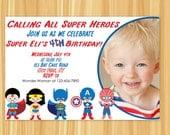 Super Hero Invitation | Super Hero Birthday Party | Superman, Spiderman, Batman, Wonder Woman and Captain America | Super Hero Birthday