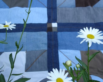 Quilt Denim Patchwork Throw, Upcycled with Autumn Leaves backing, Fall Leaf