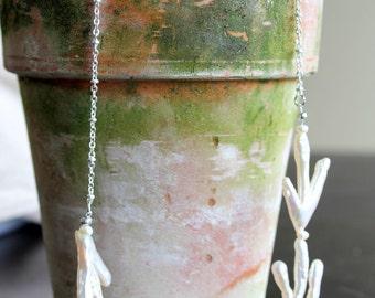 Genuine White Fresh Water Pearl beaded statement bib necklace, coral branch, twig, unusual, unique, fashion, rare, chic, biwa