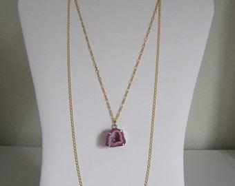 Magenta Pink Fuchsia Druzy Rock Sugar Raw Mineral Crystal Slice Geode Layered Necklace
