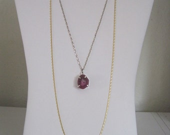 Earthy Rough Cut Magenta Purple Rock Mineral Geode Slice Layered 2 Strand Pewter Goldtone chain Necklace