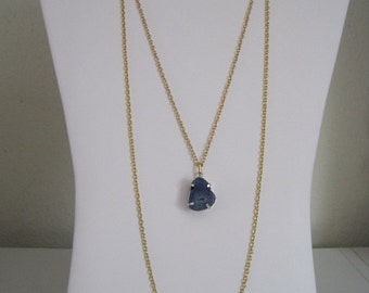 Mystical Celestial Cosmic Navy Blue Midnight Sky Raw Rock Mineral Slice Geode Layered 2 Strand Goldtone Pendant Necklace