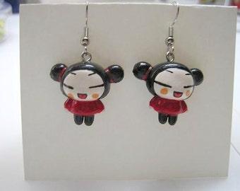 Kawaii China Doll Pucca Japanese Anime Cartoon Animation Earrings