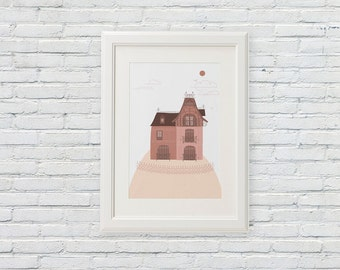 fantasy dreamed pink mansion poster