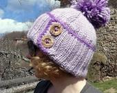 Women's chunky knit hat, purple pompom beanie, lilac ski hat, alpaca wool hat