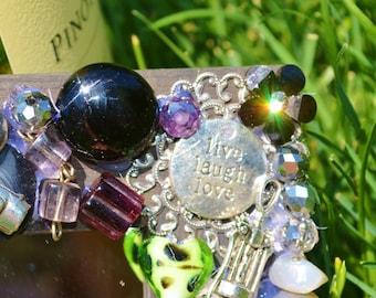 handmade wine charm, jewerly mosaic mirror, purple and green mirror,  wine charms, hostess gift