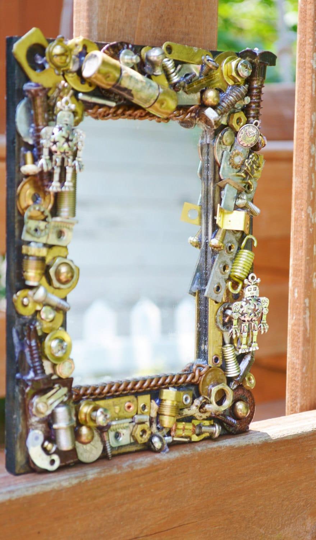 handmade robot mosaic mirror metal wall art steampunk. Black Bedroom Furniture Sets. Home Design Ideas