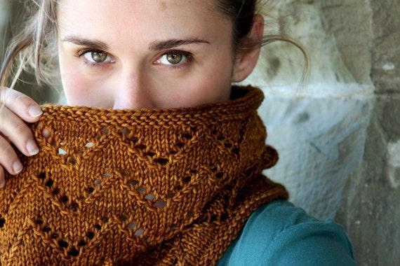 Downton Cowl Knitting Pattern Chevron Infinity Zig Zag Lace PDF