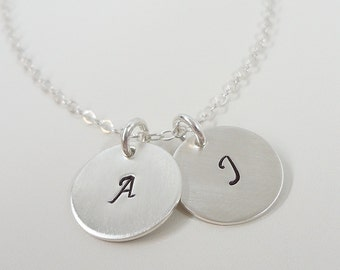 "Sterling Silver Initial Necklace - 1/2"" Initial Discs - Hand Stamped Personalized Jewelry -- Two Initials"