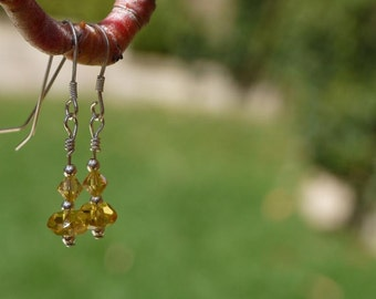 Sterling Silver Golden Glass Bead Earrings with Golden Swarovski Crystal